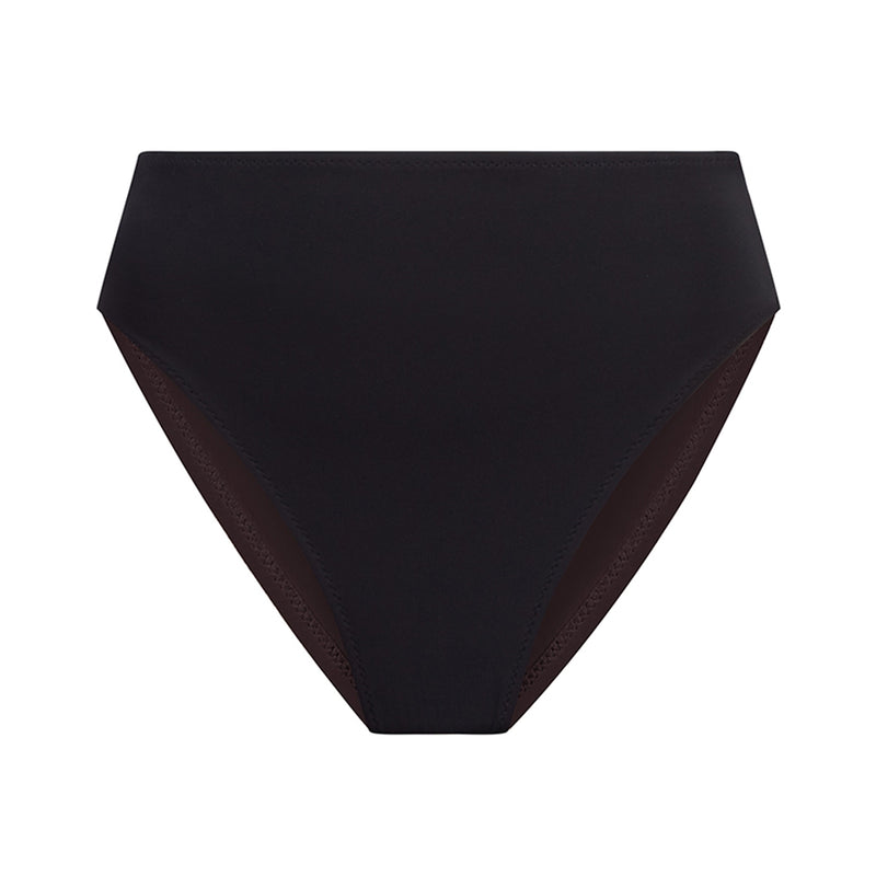 EVARAE Iza High Waisted Bikini Bottoms in Nero Black Silky Sustainable Fabric Product front