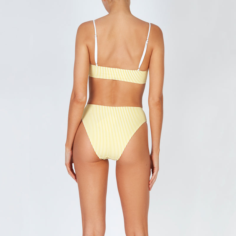 EVARAE Iza High Waisted Bikini Bottoms in Citrus Seersucker Stripe Back