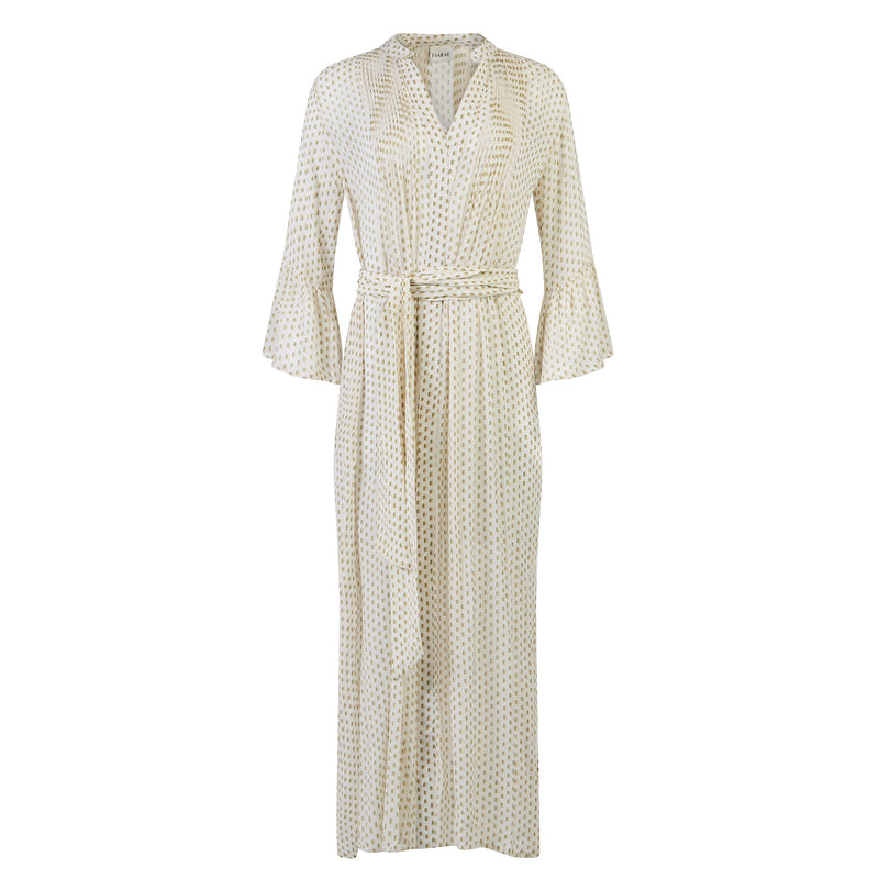 EVARAE Katia Ruffle Maxi Dress Mini Dot Sage Cream Product