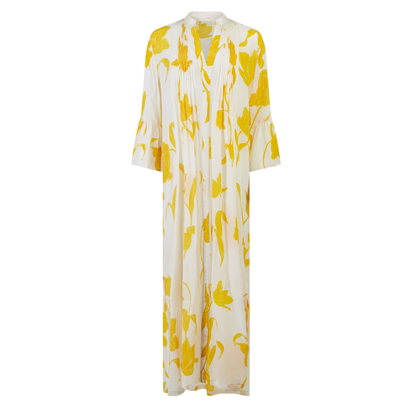 EVARAE Katia Ruffle Maxi Dress Flower of Joy Citrus Cream Product