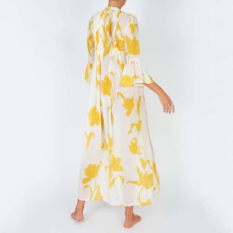 EVARAE Katia Ruffle Maxi Dress Flower of Joy Citrus Cream Back