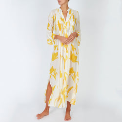 EVARAE Katia Ruffle Maxi Dress Flower of Joy Citrus Cream Front