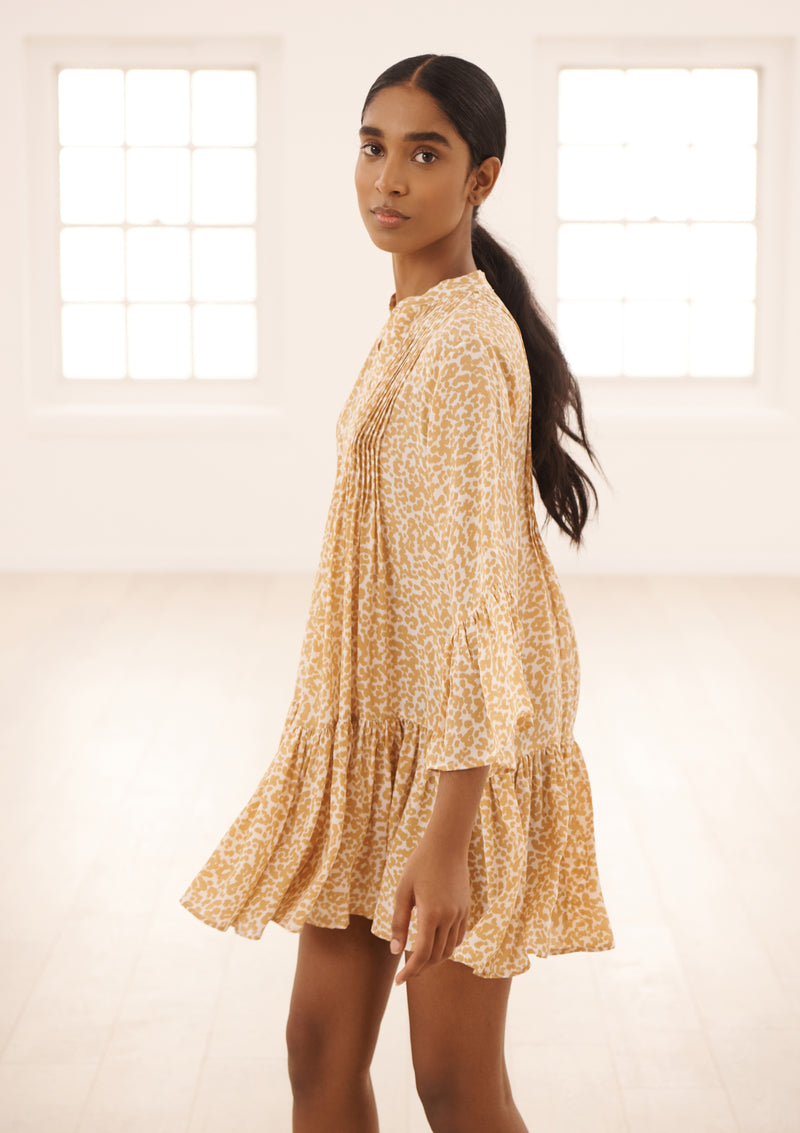 LOLI DRESS IN ORGANIC SILK - DOTTY SAND