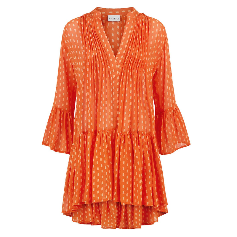 EVARAE Loli silk short volume dress pleated open collar tier skirt apricot dot orange product