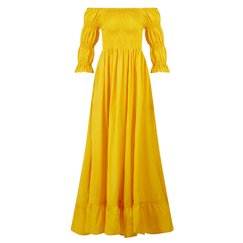 EVARAE Lora Puff Sleeve Shirred Bodice Maxi Dress Citrus Yellow Silk Cotton Fabric Summer Product