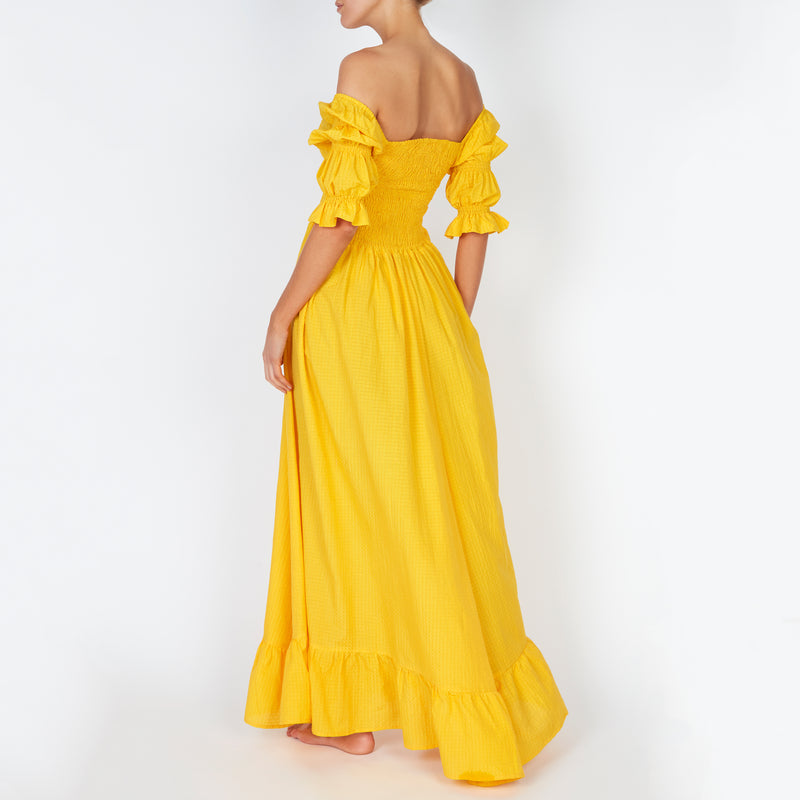 EVARAE Lora Puff Sleeve Shirred Bodice Maxi Dress Citrus Yellow Silk Cotton Fabric Summer Back