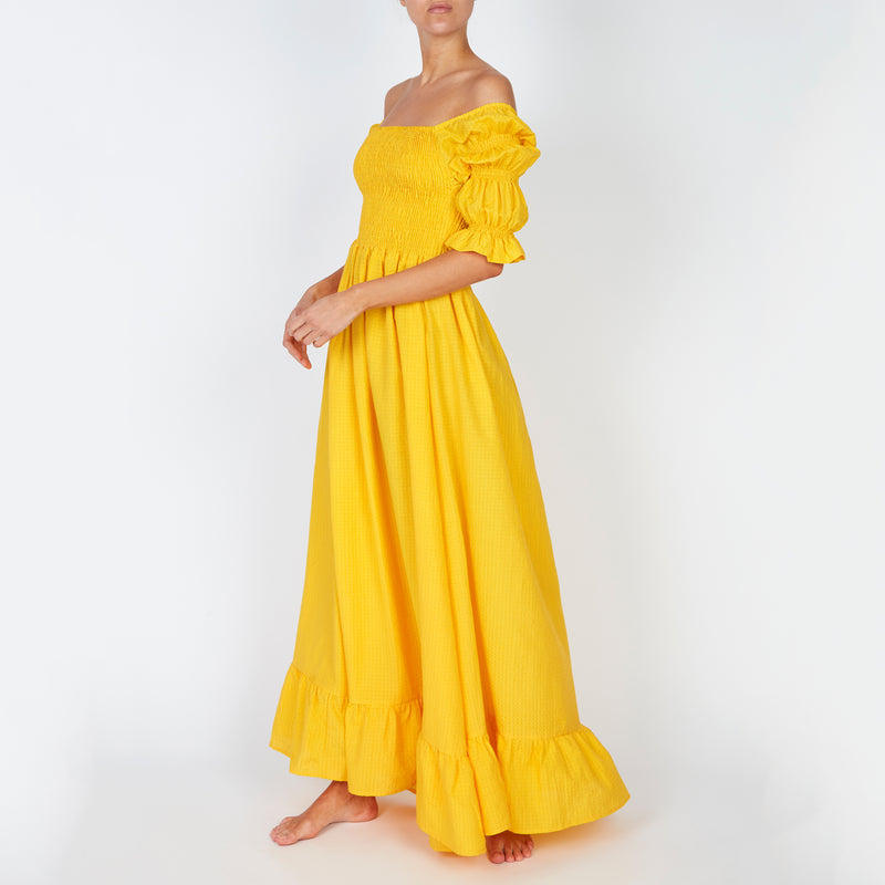 EVARAE Lora Puff Sleeve Shirred Bodice Maxi Dress Citrus Yellow Silk Cotton Fabric Summer Side