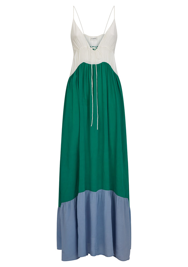 LOVE DRESS IN ORGANIC SILK - EMERALD, CORNFLOWER BLUE AND WHITE