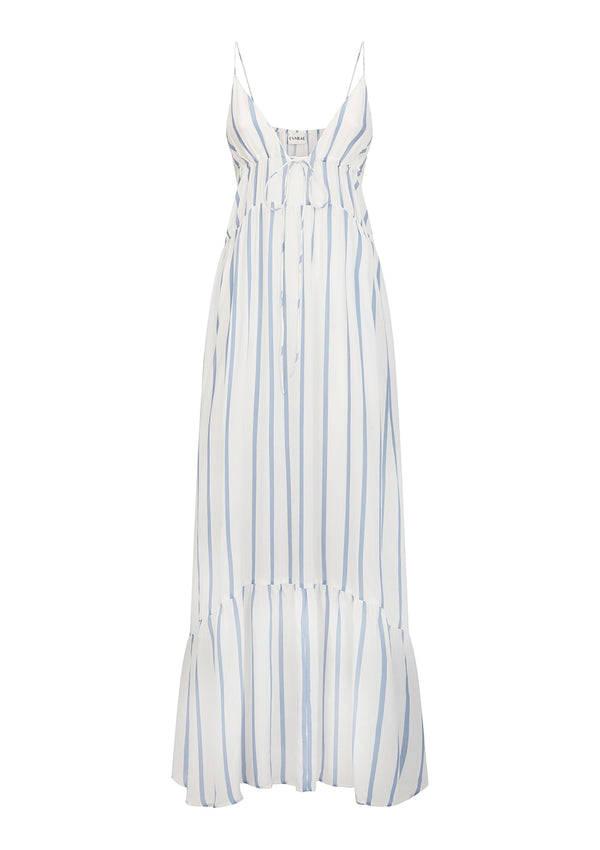 LOVE DRESS IN ORGANIC SILK - CORNFLOWER BLUE/WHITE STRIPE