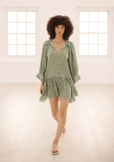 MARAIS DRESS IN ORGANIC SILK - COSMOS EMERALD