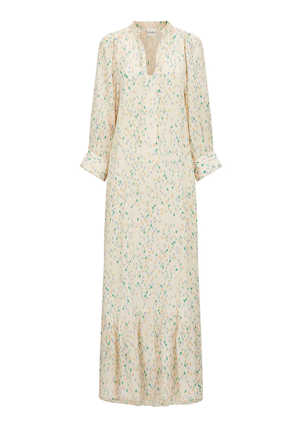 MELA DRESS IN ORGANIC SILK - CONFETTI CREME