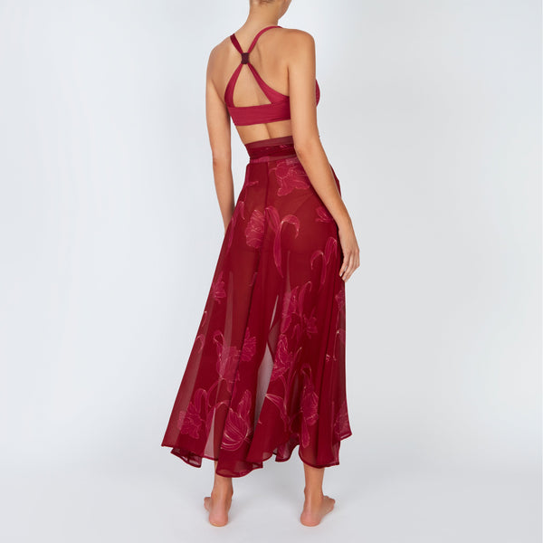 EVARAE Milu Wrap Tie Skirt in Silk Flower of Joy Berry Resort 20 Back