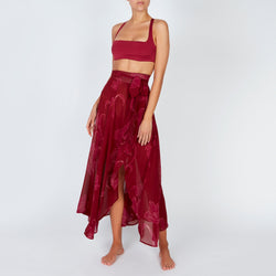 EVARAE Milu Wrap Tie Skirt in Silk Flower of Joy Berry Resort 20 Front