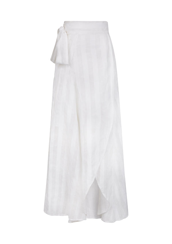MILU SKIRT IN LINEN STRIPE - SOFT WHITE