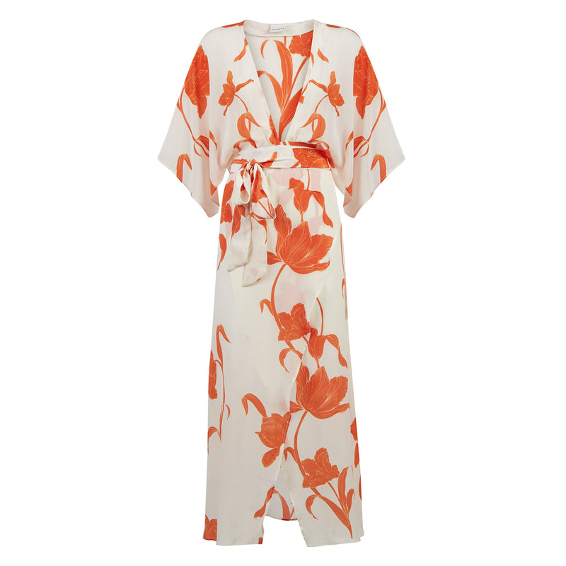 EVARAE Modica Wrap Dress in Silk Flower of Joy Apricot Kimono Sleeves Resort 20 Product