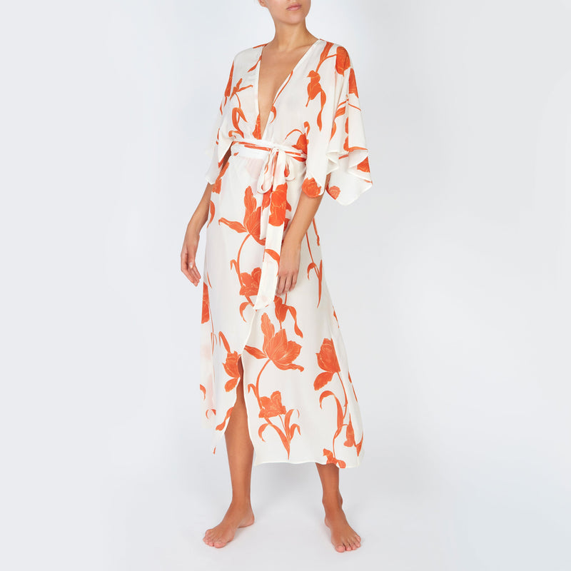 EVARAE Modica Wrap Dress in Silk Flower of Joy Apricot Kimono Sleeves Resort 20 Front