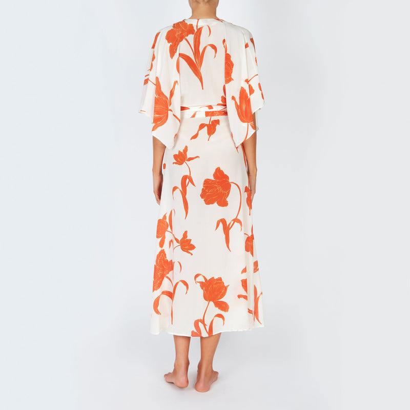 EVARAE Modica Wrap Dress in Silk Flower of Joy Apricot Kimono Sleeves Resort 20 back