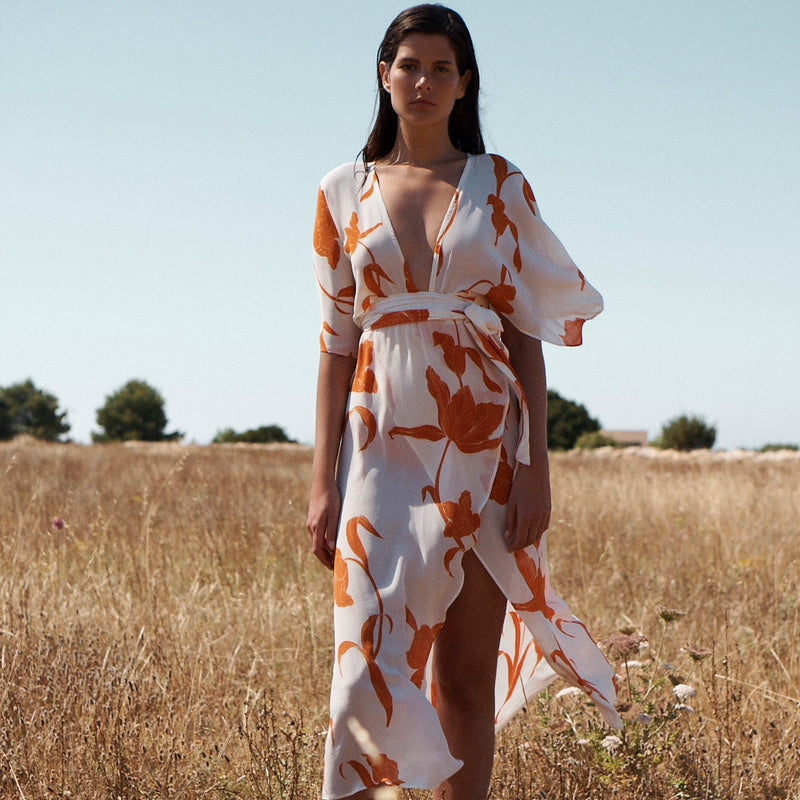 EVARAE Modica Wrap Dress in Silk Flower of Joy Apricot Kimono Sleeves Resort 20 Model front