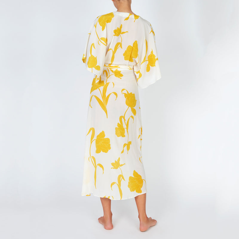 EVARAE Modica Wrap Dress in Silk Flower of Joy Citrus Creme Kimono Sleeves SS20 Back