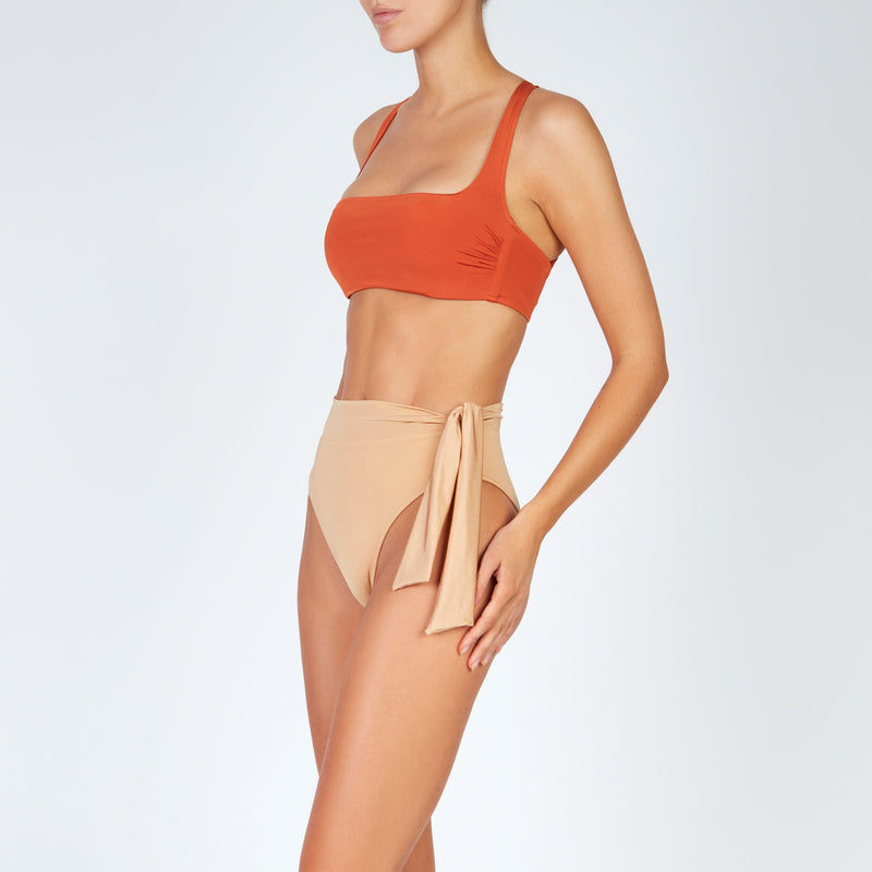 EVARAE Neema Cross Back Square Neck Bikini Top in Ice Tea Orange Resort20 Side
