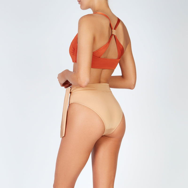 EVARAE Neema Cross Back Square Neck Bikini Top in Ice Tea Orange Resort20 Back