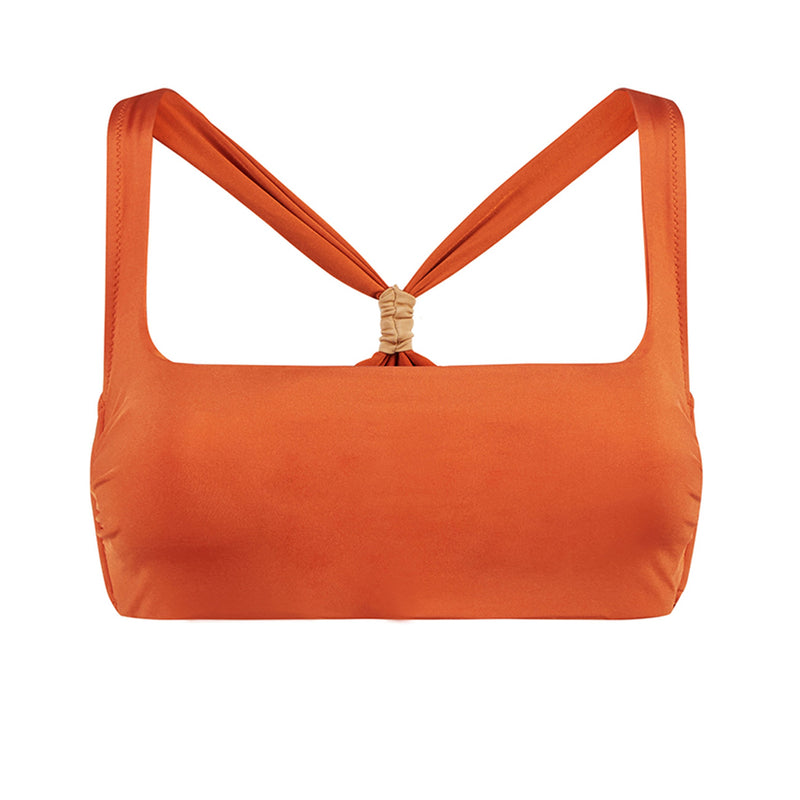 EVARAE Neema Cross Back Square Neck Bikini Top in Ice Tea Orange Resort20 Product