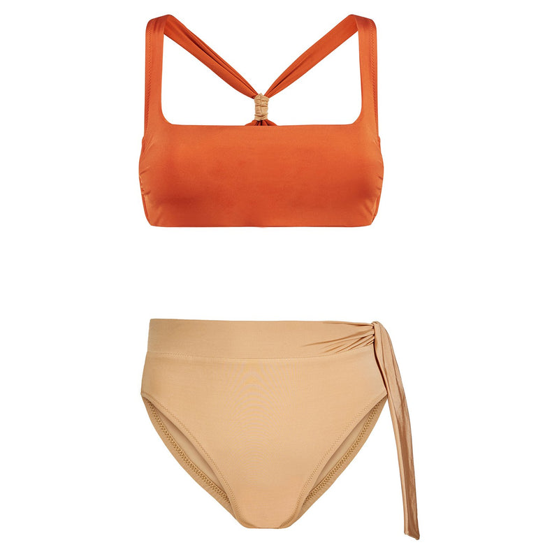 EVARAE Neema Cross Back Square Neck Bikini Top in Ice Tea Orange and Yasmeen Rococco Bottoms Resort20 Product