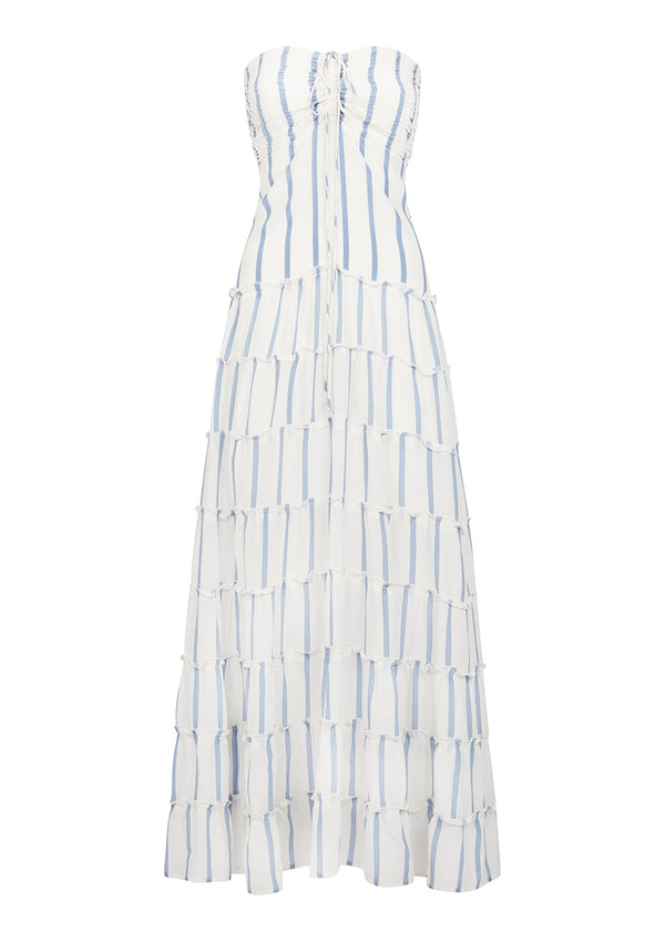 PHEOBE DRESS IN ORGANIC SILK - CORNFLOWER BLUE/WHITE STRIPE