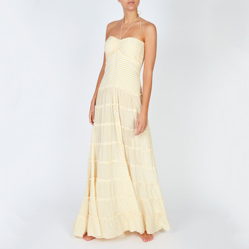EVARAE Pheobe Pleated Dress with Tiers in Mini Dot Citrus SS20 Model