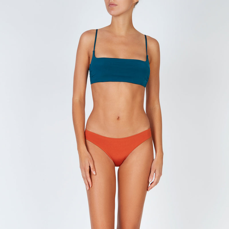 EVARAE Regan Bikini Top Blu Tropico Square Neck Thin Straps Silky Sustainable Resort 20 front