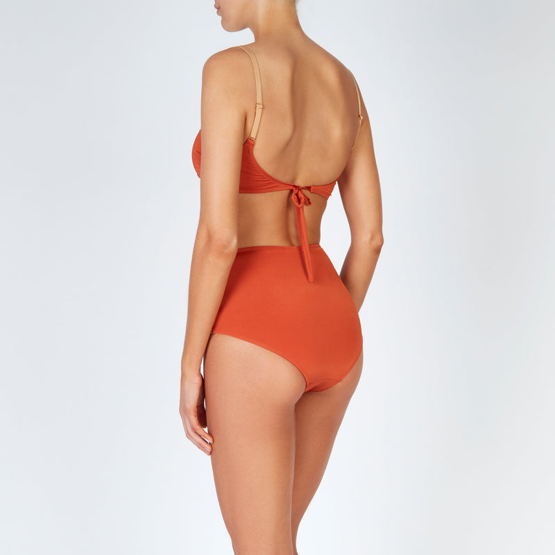 EVARAE Rei Bikini Top Cut Out Detail Silky Sustainable Fabric in ice tea rococco resort 20 Tie Back detail