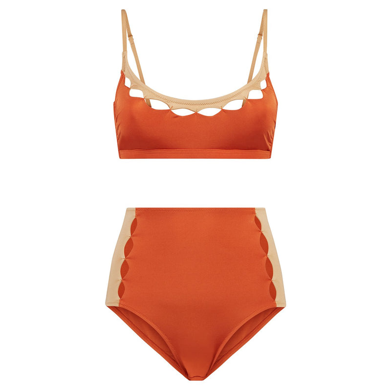 EVARAE Rei Bikini Top Cut Out Detail Silky Sustainable Fabric in ice tea rococco resort 20 product