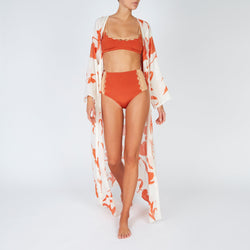 EVARAE Rei Bikini Top Cut Out Detail Silky Sustainable Fabric in ice tea rococco resort 20 front with silk kimono