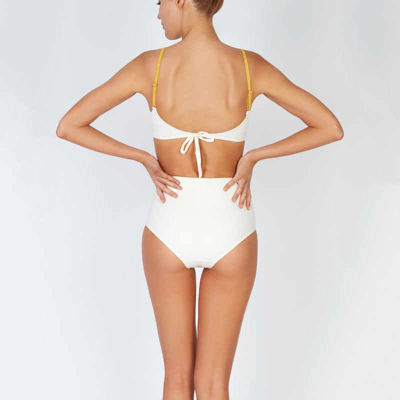 EVARAE Rei Bikini Top Cut Out Detail Sustainable Fabric in Creme Mimosa resort 20 Back model