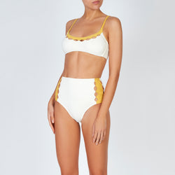 EVARAE Rei Bikini Top Cut Out Detail Sustainable Fabric in Creme Mimosa resort 20 front model