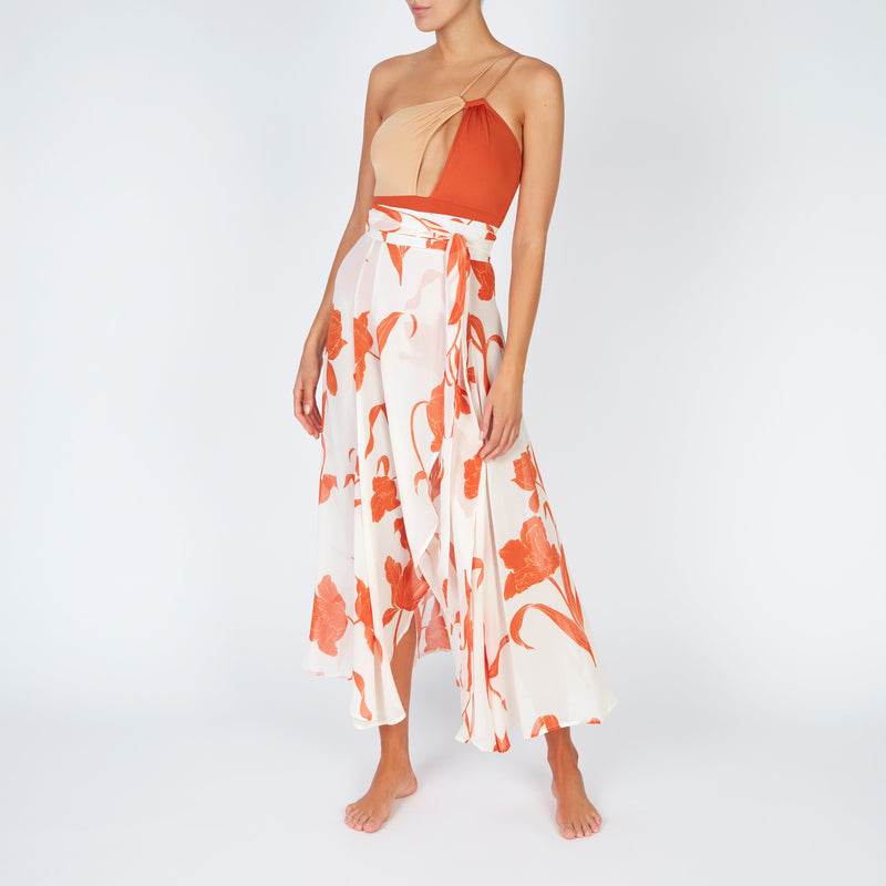 EVARAE Rizo Swimsuit in Ice Tea / Rococco One Shoulder R20 Front with Milu Silk Wrap Skirt