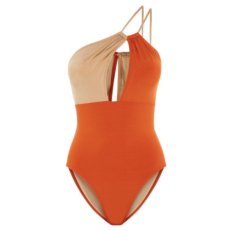 EVARAE Rizo Swimsuit in Ice Tea / Rococco One Shoulder R20 Front Product