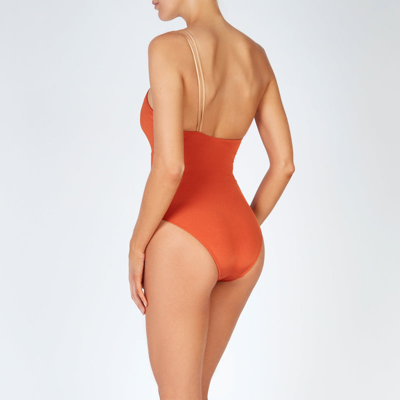 EVARAE Rizo Swimsuit in Ice Tea / Rococco One Shoulder R20 Back
