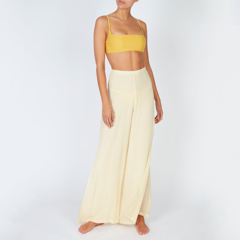 EVARAE Row Bikini Top Square Neckline Mimosa Sustainable fabric Resort20 Front Model with Diana Trousers