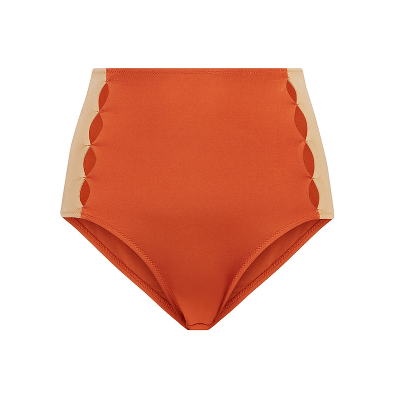 EVARAE Roxanne Bikini Bottoms High Waisted Cut Out Panels Ice Tea / Rococco Resort20 Product Detail