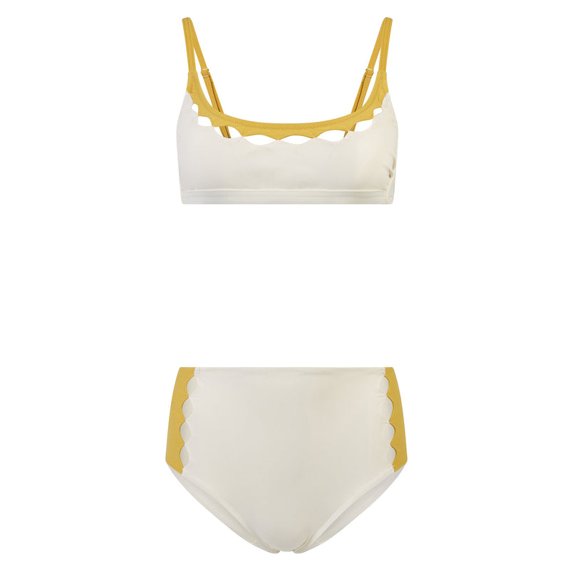 EVARAE Roxanne Bikini Bottoms High Waisted Cut Out Panels Mimosa / Cream Resort20 Product