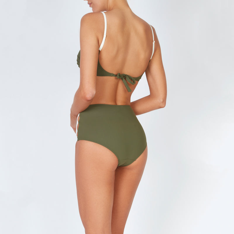 EVARAE Roxanne Bikini Bottoms High Waisted Cut Out Panels Sage / Cream Resort20 Back