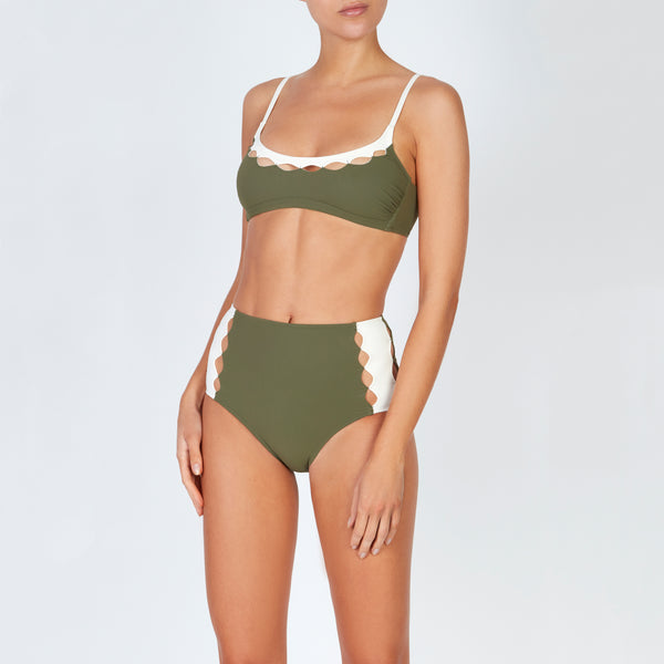 EVARAE Roxanne Bikini Bottoms High Waisted Cut Out Panels Sage / Cream Resort20