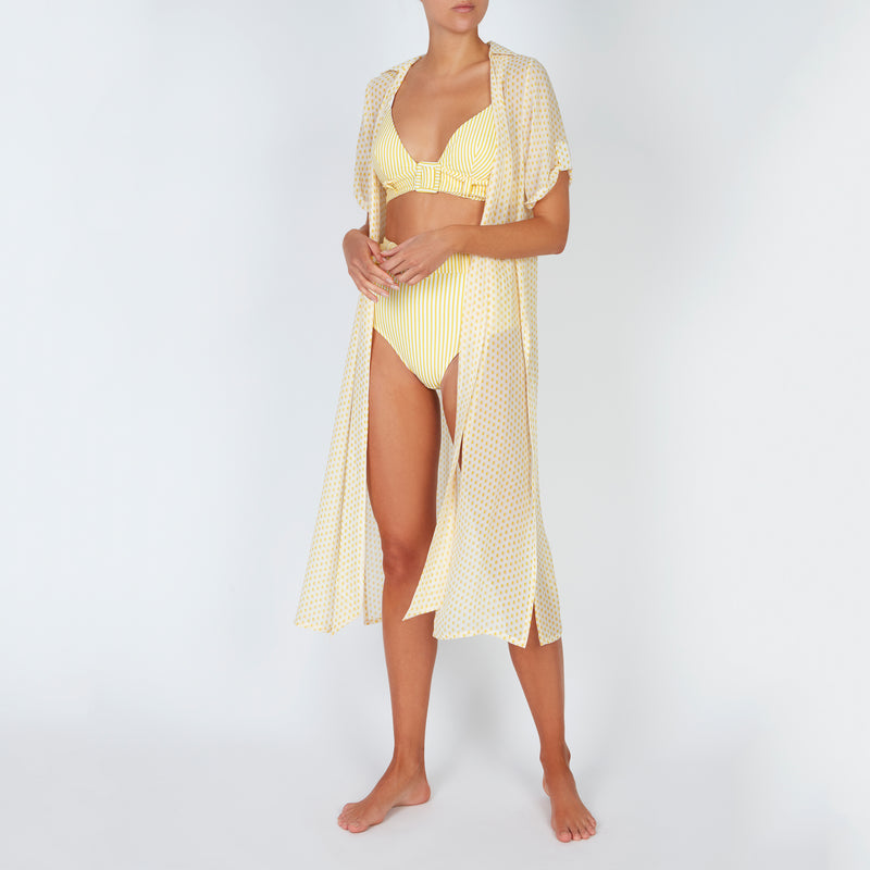 EVARAE Sabine Belted Triangle Bikini Top in Citrus and Cream Stripe Front Model with Kimono