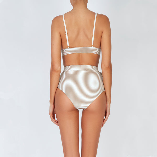 EVARAE Sabine Belted Triangle Bikini Top in Ice Mocha and Cream Stripe Back Model