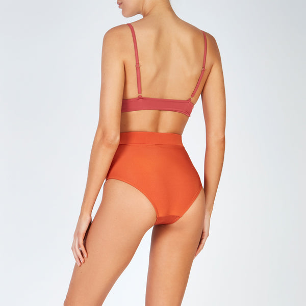 EVARAE Sabine Belted Triangle Bikini Top in Silky Mars Back Model