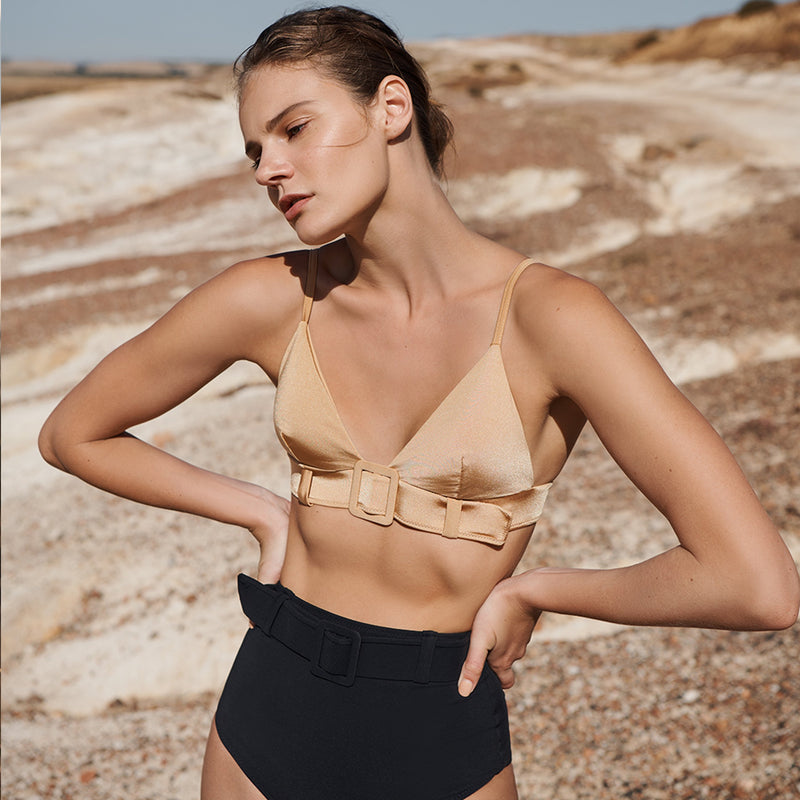 EVARAE Sabine Belted Triangle Bikini Top in Rococco Nude Front Model