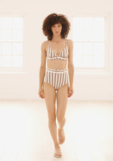 ELENA BIKINI BOTTOMS IN ECONYL® - MUSHROOM STRIPE