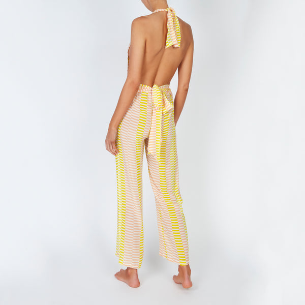 EVARAE Sora Jumpsuit Silk Wrap in Sunray Yellow. Beach cover up. SS20