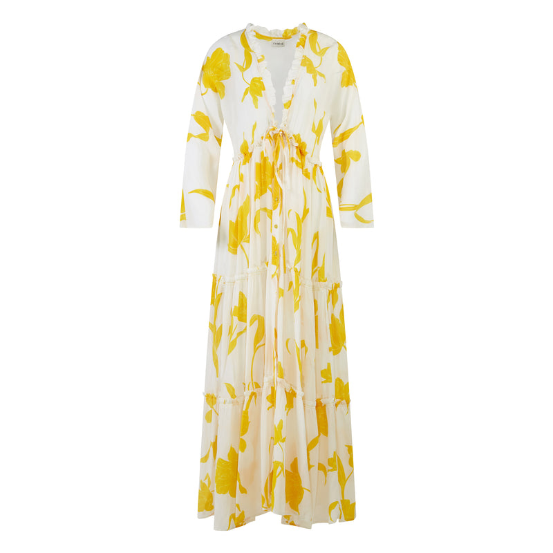 EVARAE Talia Maxi Dress in Flower of Joy Creme Silk Tiered Skirt and Ruffle Detail SS20 Product